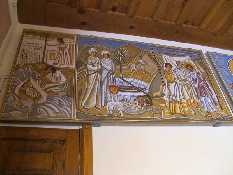 Above the well, there are recreated paintings of the story of Moses at Mt Sinai.