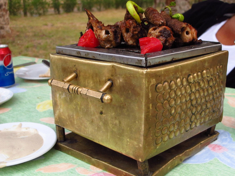 …personal table grill of chicken and kofta (lamb kebobs).