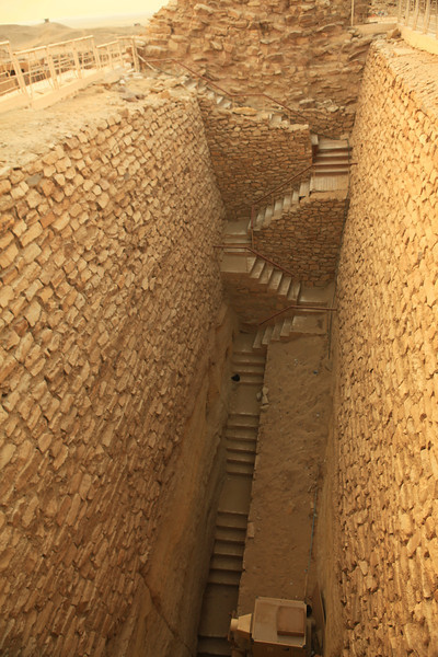 Steps down into one of the excavated tombs at Saqqara.