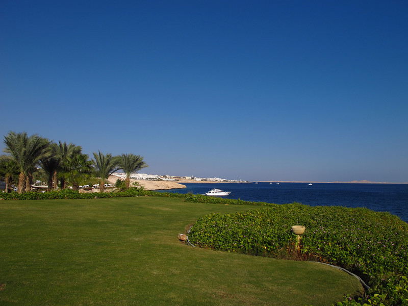 The Red Sea borders the resort and you can see into Saudi Arabia.