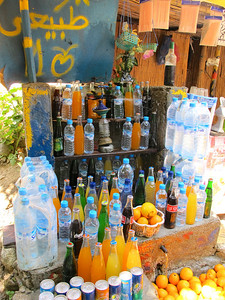 WHile it's difficult to see in this picture, oranges, soft drinks and water are kept cool by water diverted from the river that flows by the trail.