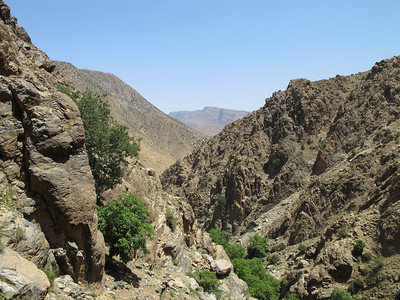 The Atlas Mountains stretch 1600 miles through norther Africa, extending through  Morocco, Algeria and Tunisia.   The Atlas separate the Mediteranean and Atlantic coasts from the Sahara Desert.