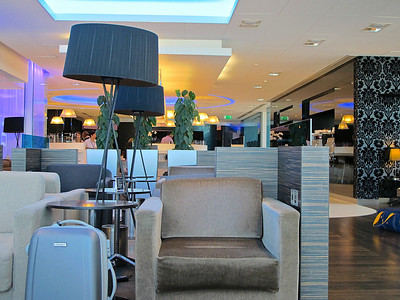 Inside the BMI airport lounge in Terminal 1 at Heathrow.