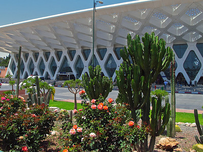 A view of the front of the terminal.  The airport is close to the city, so within 20 minutes, you can be just about anywhere in central Marrakech.