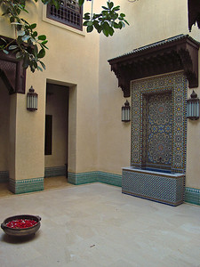 Riad Kniza has two main three courtyards.  Much of the original detailed tile work has been preserved or restored in this 200 year old building.