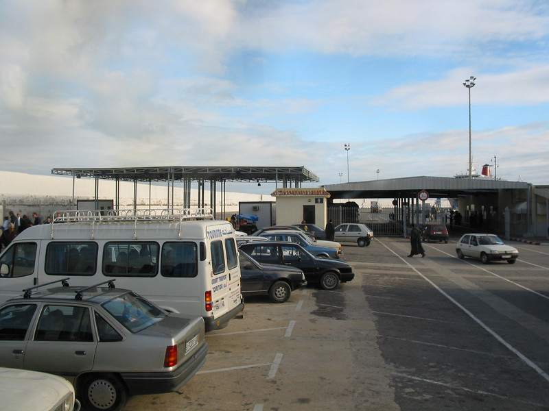 Arriving at the ferry dock in Tangier, Morocco.  Ferries go throughout the day between Tangier and Algeciras, Spain.