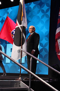 American Farm Bureau President Zippy Duvall walked on stage to begin the opening session of the 99th Annual Convention of the American Farm Bureau.