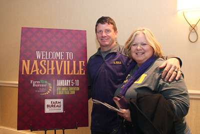 In January 2018, DeSoto Parish Farm Bureau Parish President Joey Register, left, and LFBF Women's Leadership Committee DeSoto Parish Chair Lisa Register, right, from DeSoto Parish attended the 99th American Farm Bureau in Nashville, Tennessee.