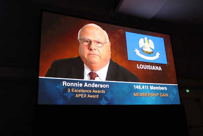 This photo of a graphic shown at the 99th American Farm Bureau convention opening session show the accomplishments of Louisiana Farm Bureau in 2017.