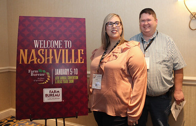 In January 2018, Louisiana Farm Bureau's 2016 Young Farmer and Rancher Excellence in Ag winner Katie Sistrunk, and her husband Jeff of Iberville Parish attended the 99th American Farm Bureau in Nashville, Tennessee.