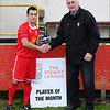 The Vodkat League Secretary, John Deal, presenting the November Division One Player of the Month award to Shaun Chart.