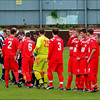 AFC Liverpool and Alsager Town shake hands.