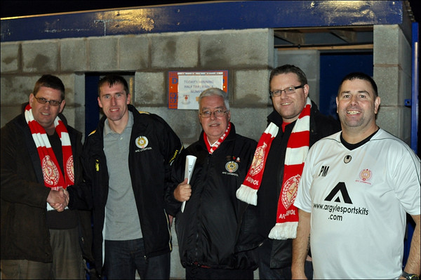 AFC Liverpool fans, player and manager at Glossop North End's Surrey Street ground.