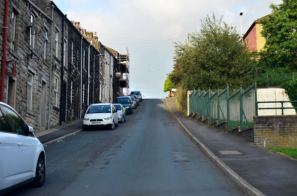 Looking up a very steep Cooper Street in Bacup.
