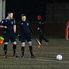 AFC Liverpool's Steve Corris and the match officials.