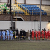 St Helens Town and AFC Liverpool players line up before the kick-off.