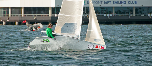 Girl overboard from racing dinghy. April 16, 2013: Editorial