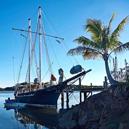 Vintage Tall Ship, tropical marinescape.