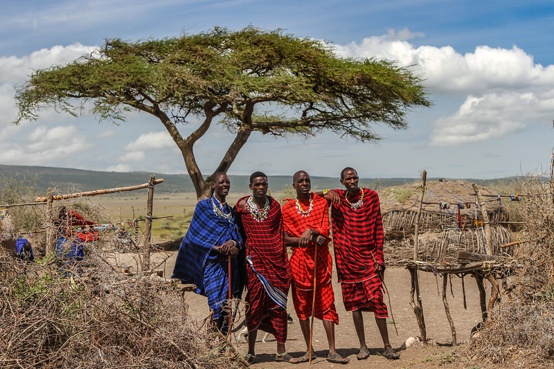 4 Masai men and acacia tree - Serengeti-5434