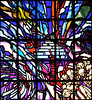 RW 155  Stained glass, Descent to Genocide, by Ardyn Halter