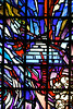 RW 156  Stained glass, Descent to Genocide, by Ardyn Halter