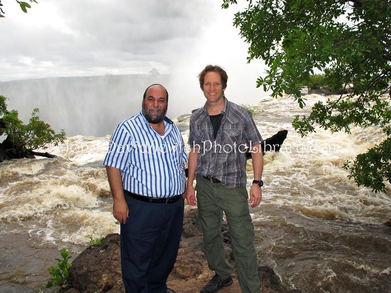 ZM 140  Rabbi Moshe Silberhaft, aka the Travelling Rabbi, and Jono David at Victoria Falls, Livingstone, Zambia