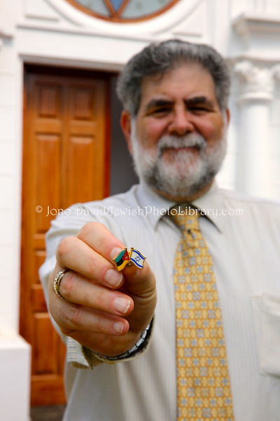 MZ 8  Larry Herman shows his Mozambique-Israel pin