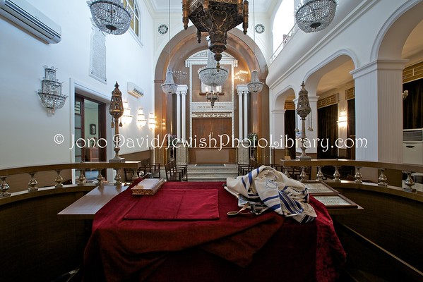 MOROCCO, Tangier. Synagogue Grand Temple Chaar Refael (3.2016)