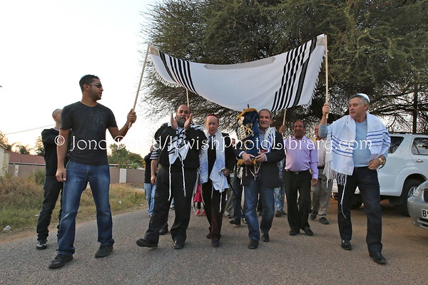 "BOTSWANA, Gaborone. Hachnasat Sefer Torah celebration (arrival of new Torah) (Torah from Kroonstad Hebrew Congregation, South Africa) (events led by Rabbi Moshe ""The Travelling Rabbi"" Silberhaft at home of Avner and Nurit Tzabari) (8.2013)"
