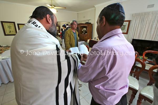 BOTSWANA, Gaborone. Ma'ariv service (in prayer room at home of Avner and Nurit Tzabari) (8.2013)