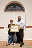 ZA 8119  Rabbi Moshe Silberhaft presenting Eva Goldsmith with award for her community service