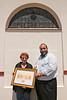 ZA 8118  Rabbi Moshe Silberhaft presenting Eva Goldsmith with award for her community service