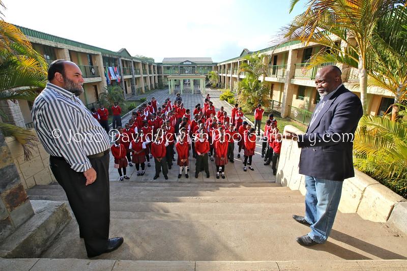 SZ 71  Rabbi Moshe Silberhaft (L) and Geoffrey Menachem Ramokgadi, school CEO, Swaziland Jewish Community president