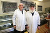 ZA 15091  Joe Gobetz (L) and Nachman Levy (mashgiach), at Trevors Kosher Butchery  Johannesburg, South Africa