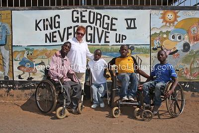 Shelley Lasker with children, King George VI Children's Centre & School  BULAWAYO, Zimbabwe