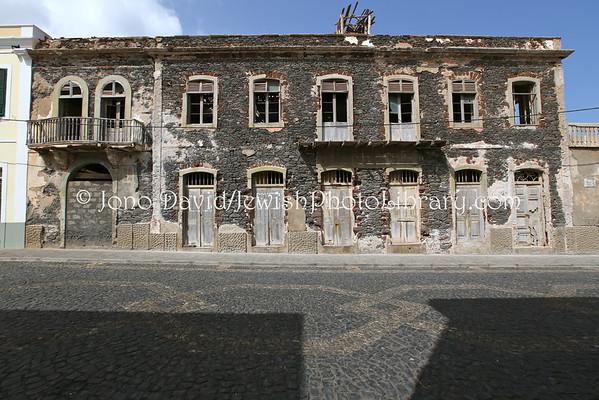 CAPE VERDE, Santo Antao, Ponta do Sol. Rua Direita, including Benjamin Cohen home/business and other buildings and views(8.2015)