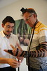 MU 370  Rabbi Laima Barber and Owen Griffiths, President, Island Hebrew Congregation Mauritius, doing tefillin