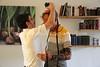 MU 366  Rabbi Laima Barber and Owen Griffiths, President, Island Hebrew Congregation Mauritius, doing tefillin