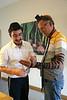 MU 369   Rabbi Laima Barber and Owen Griffiths, President, Island Hebrew Congregation Mauritius, doing tefillin