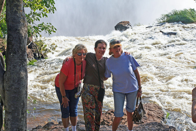 The girls at Victoria Falls