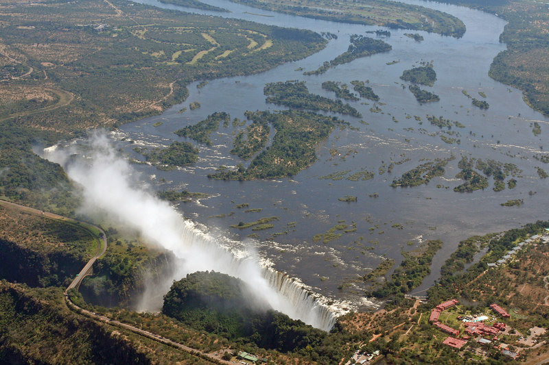 Victoria Falls from the air.