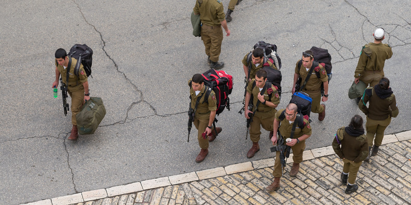 High angle view of soldiers of Israel Defense Forces are on street, Jerusalem, Israel