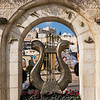Sculpture of David's harp at the entrance of the City of David, Jerusalem, Israel