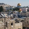 View of old city from Damascus Gate with Dome of The Rock in the background, Jerusalem, Israel