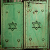 Close-up of Star of David on metal gates, Safed, Northern District, Israel