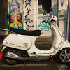 Motor Scooter parked outside building, Florentin, Tel Aviv, Israel