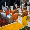 Variety of spices for sale at market stall, Carmel Market, Tel Aviv, Israel