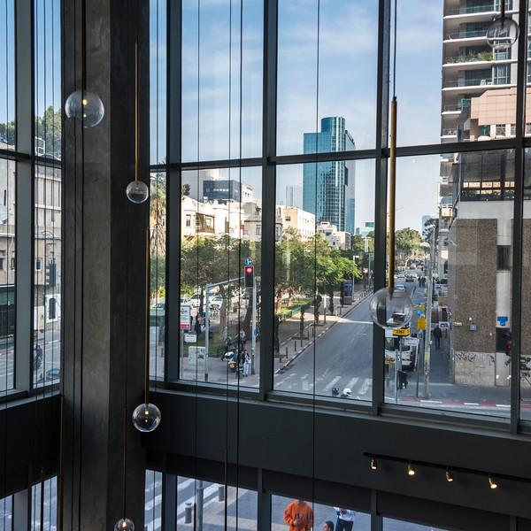 Street view from window of office building, Rothschild Boulevard, Tel Aviv, Israel