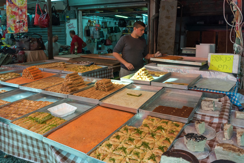 Traditional Israeli cuisines for sale at store, Carmel Market, Tel Aviv, Israel