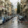 Cars parked on both sides of street, Florentin, Tel Aviv, Israel